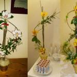 galda ziedu dekori